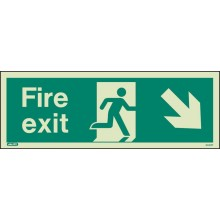 Fire Exit Down Right Sign