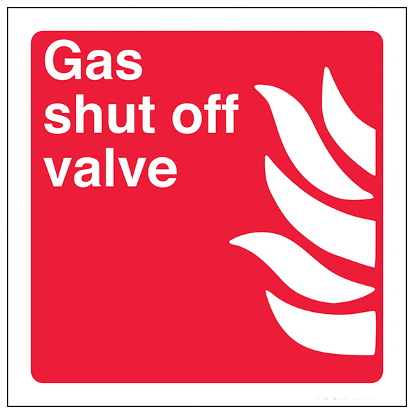 Gas Shut Off Valve Safety Sign