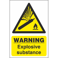 Warning Explosive Substance Safety Sign